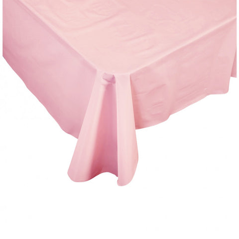 Classic Pink Plastic Table Cover - Rectangle