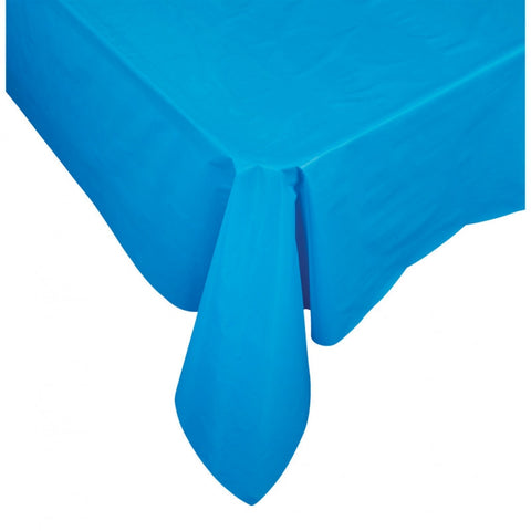 Electric Blue Plastic Table Cover - Rectangle