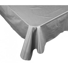 Metalic Silver Plastic Table Cover - Rectangle