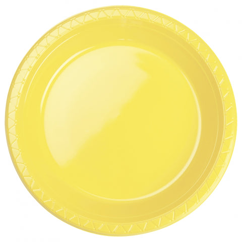 Yellow Plastic Banquet Plates (20 Pack)