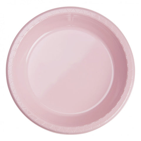 Classic Pink Plastic Banquet Plates (25 Pack)