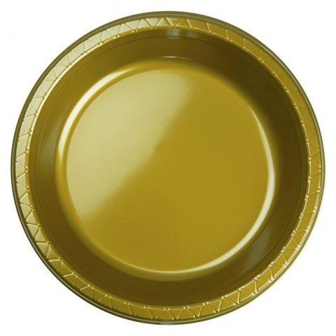 Metalic Gold Plastic Banquet Plates (20 Pack)