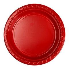 Apple Red Plastic Dinner Plates (25 Pack)