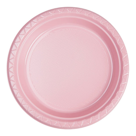 Classic Pink Plastic Dinner Plates (20 Pack)