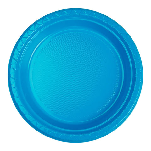 Electric Blue Plastic Dinner Plates (20 Pack)