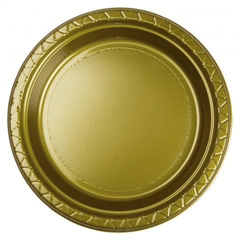 Metalic Gold Plastic Dinner Plates (20 Pack)
