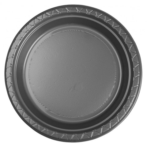 Metalic Silver Plastic Dinner Plates (20 Pack)