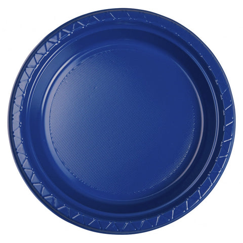 True Blue Plastic Dinner Plates (25 Pack)