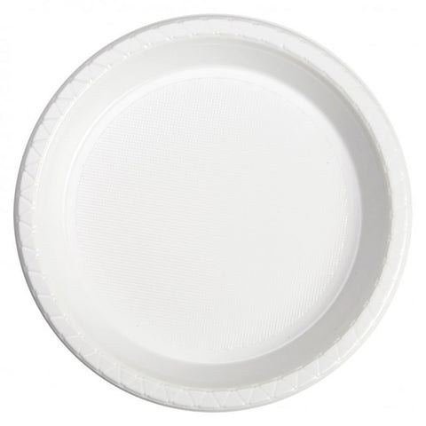White Plastic Dinner Plates (20 Pack)