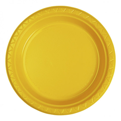 Yellow Plastic Dinner Plates (25 Pack)