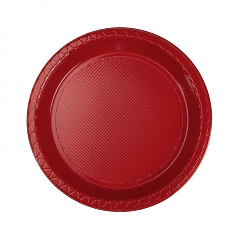 Apple Red Plastic Snack Plates (20 pack)