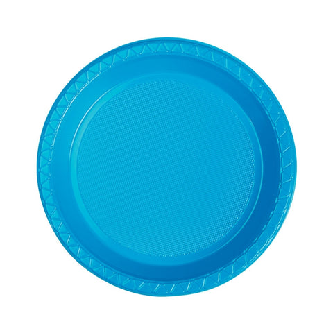 Electric Blue Plastic Snack Plates (25 pack)