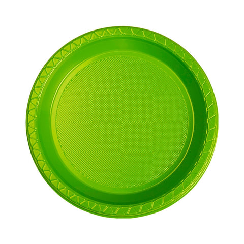 Lime Green Plastic Snack Plates (25 Pack)