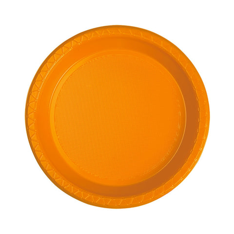Orange Plastic Snack Plates (25 pack)