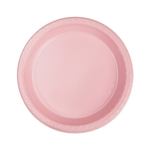 Classic Pink Plastic Snack Plates (20 pack)