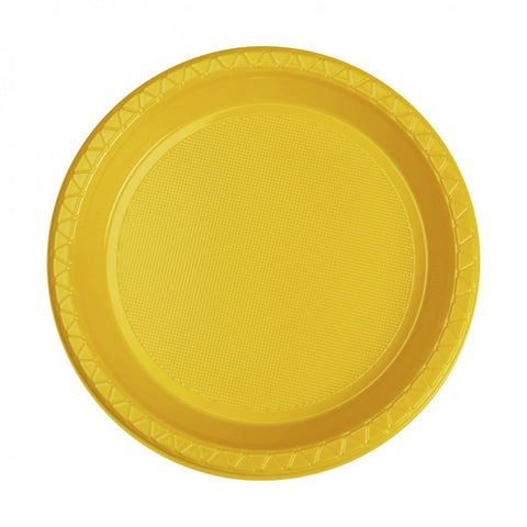 Yellow Plastic Snack Plates (20 pack)