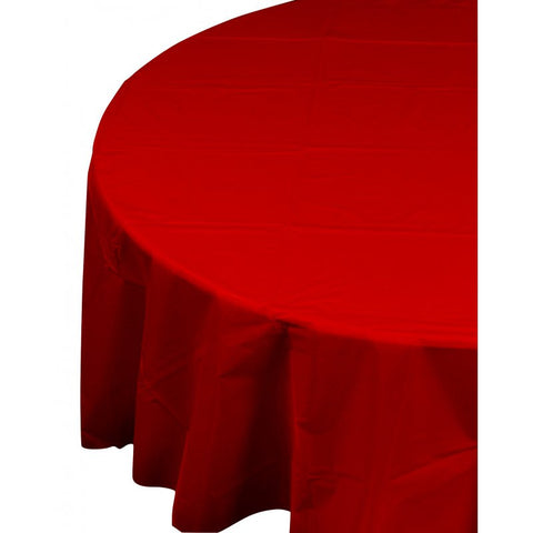 Apple Red Plastic Table Cover - Round