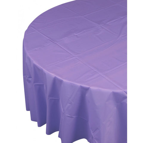 Lilac Plastic Table Cover - Round