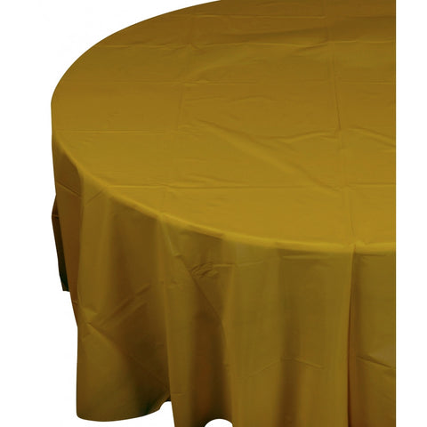 Metalic Gold Plastic Table Cover - Round