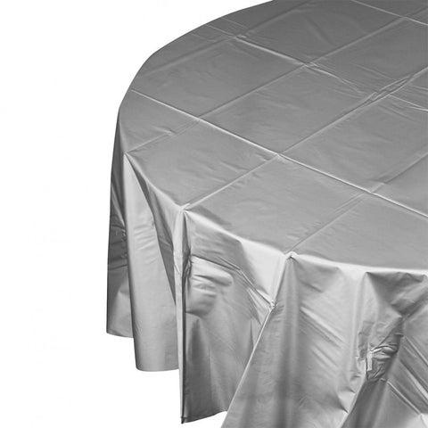 Metalic Silver Plastic Table Cover - Round