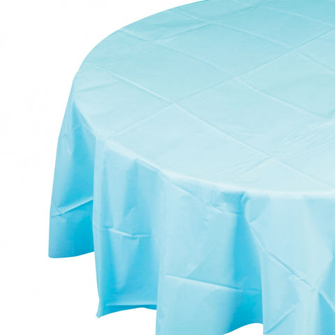 Pastel Blue Plastic Table Cover - Round