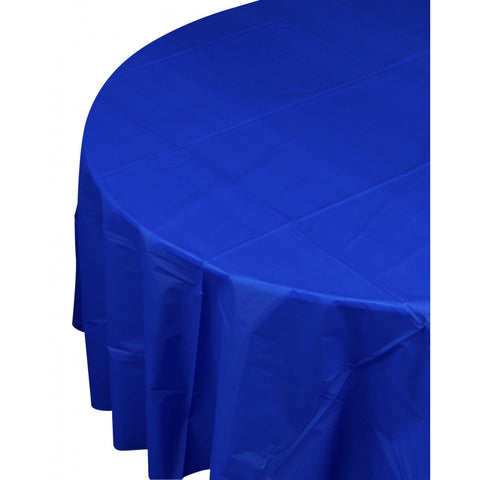 True Blue Plastic Table Cover - Round