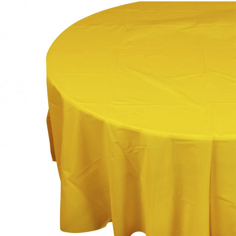 Yellow Plastic Table Cover - Round