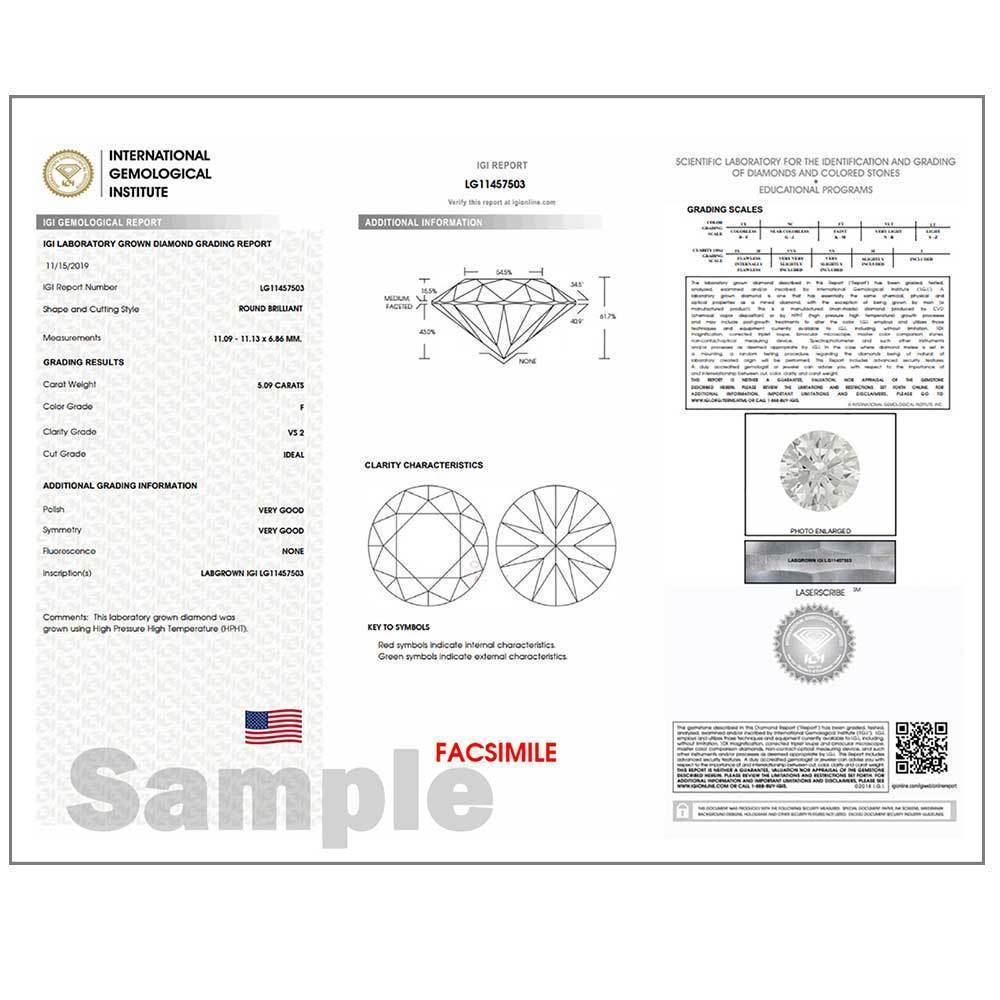 Certified Lab Grown Diamond #971101885 Round 1.01 Ct J Color SI1 Clarity Loose Lab Grown Diamond Renaissance Diamonds