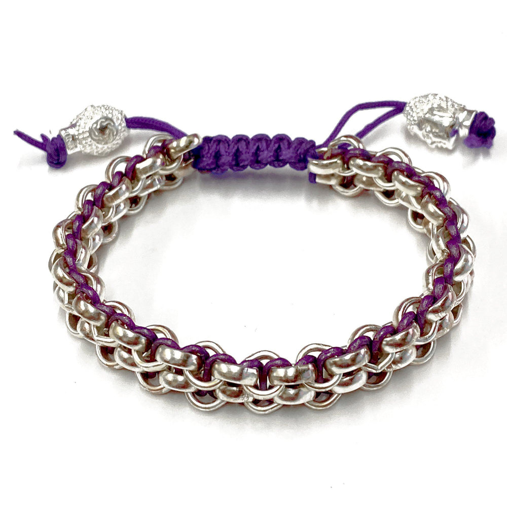 Links Bracelet 14Kt White Gold & Purple 2-Row Limited Donation Edition bracelet Links Jewelry