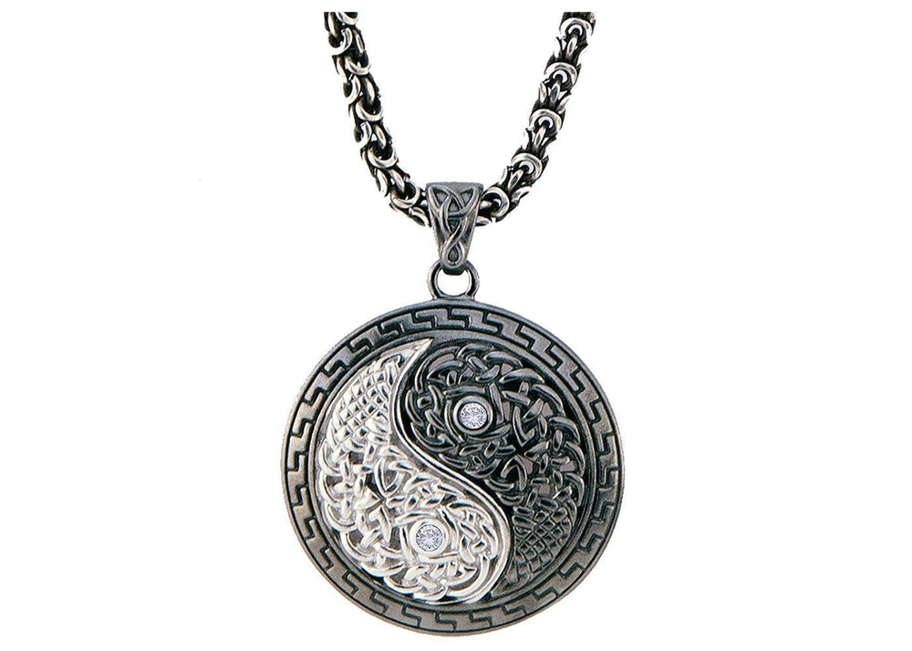 Yin~Yang Necklace & Earring White Gold and Diamond Collection Set InHarmony