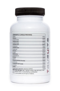 Truevits.uk the 20 Aminos bottle 120 capsules back with ingredients list