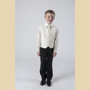 4 piece waistcoat suit in cream with large diamond design