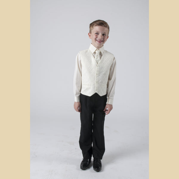 4 piece waistcoat suit in cream with dobby design