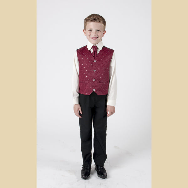 4 piece waistcoat suit in wine with dobby design
