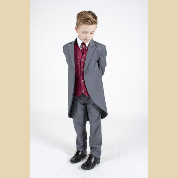 5 piece grey tailcoat suit with a wine dobby waistcoat