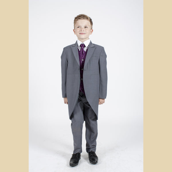 5 piece grey tailcoat suit with a purple dobby waistcoat