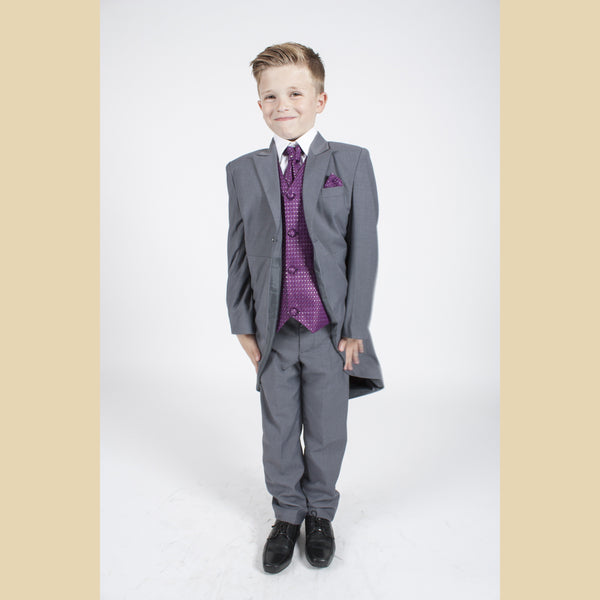 5 piece grey tailcoat suit with a purple diamond waistcoat