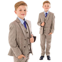 5 piece herringbone tweed suit in brown