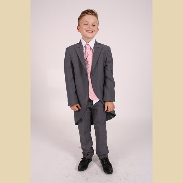 5 piece grey tailcoat suit with a pink dobby waistcoat