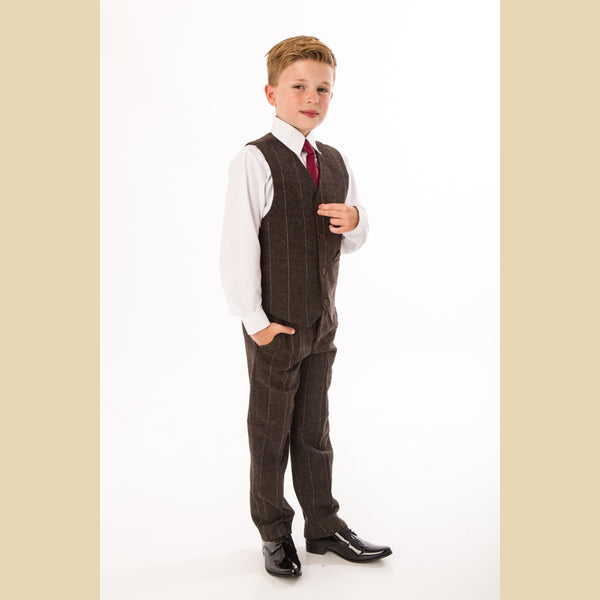 4 piece tweed waistcoat suit in brown check