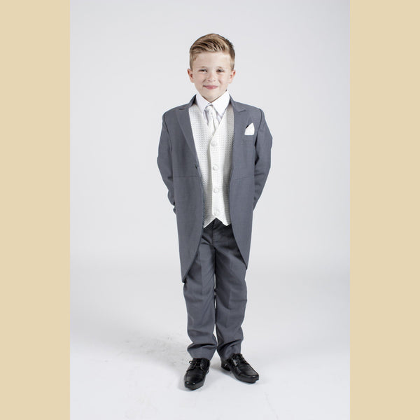 5 piece grey tailcoat suit with a ivory diamond waistcoat