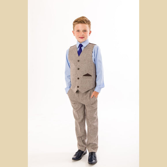 4 piece herringbone tweed waistcoat suit in brown