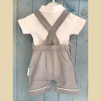 Grey Dungaree Style Romper With White Vest Set