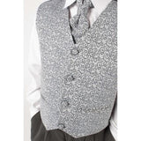 4 piece waistcoat suit in silver with swirl design