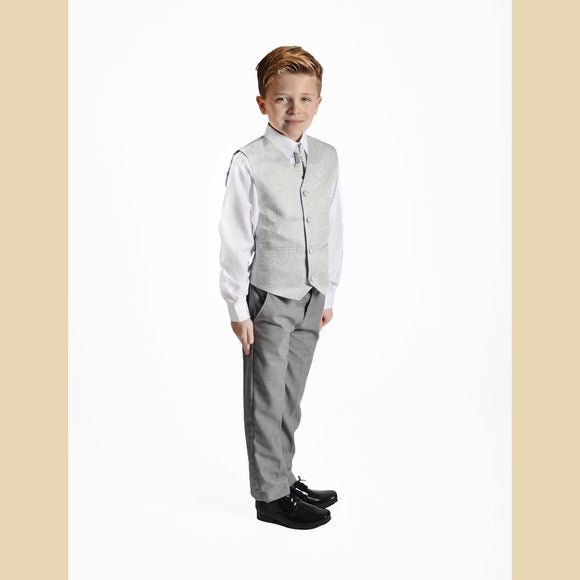 4 piece waistcoat suit in silver with swirl design with grey trousers