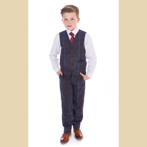 4 piece tweed waistcoat suit in navy check
