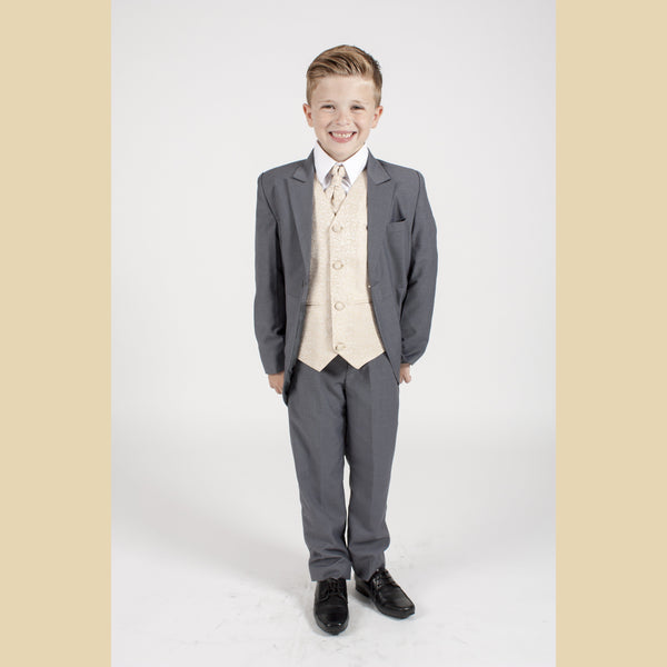 5 piece grey tailcoat suit with a champagne swirl waistcoat