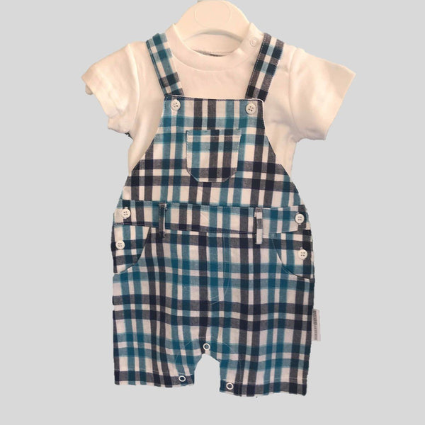 Blue Check Dungaree Style Romper With Hat & White T-Shirt Set
