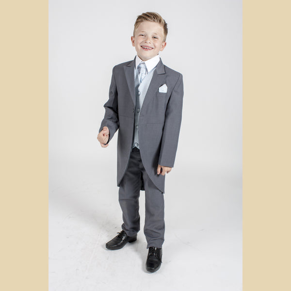 5 piece grey tailcoat suit with a blue diamond waistcoat