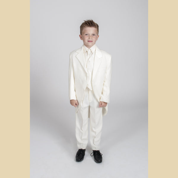 5 piece cream tailcoat suit